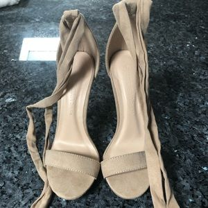 Wild Diva Shoes - Lace/Tie up nude heels